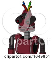 Red Droid With Cone Head And Happy Mouth And Three Eyed And Wire Hair