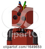 Red Automaton With Box Head And Happy Mouth And Three Eyed And Wire Hair