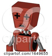 Red Automaton With Box Head And Sad Mouth And Plus Sign Eyes