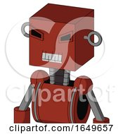 Red Automaton With Box Head And Teeth Mouth And Angry Eyes