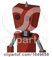 Red Automaton With Box Head And Vent Mouth And Two Eyes And Spike Tip