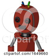 Red Automaton With Bubble Head And Dark Tooth Mouth And Black Glowing Red Eyes And Wire Hair