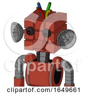 Red Automaton With Cube Head And Speakers Mouth And Red Eyed And Wire Hair