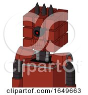 Red Automaton With Cube Head And Toothy Mouth And Black Cyclops Eye And Three Dark Spikes