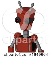 Red Automaton With Cylinder Conic Head And Black Glowing Red Eyes And Double Antenna