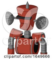 Red Automaton With Cylinder Conic Head And Speakers Mouth And Black Visor Cyclops And Spike Tip