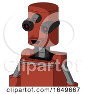 Red Automaton With Cylinder Head And Happy Mouth And Three Eyed