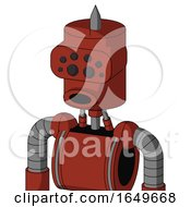 Red Automaton With Cylinder Head And Round Mouth And Bug Eyes And Spike Tip