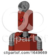 Red Automaton With Cylinder Head And Speakers Mouth And Angry Cyclops Eye And Radar Dish Hat