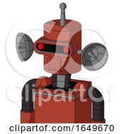 Red Automaton With Cylinder Head And Speakers Mouth And Visor Eye And Single Antenna