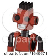 Red Automaton With Cylinder Head And Teeth Mouth And Two Eyes And Pipe Hair