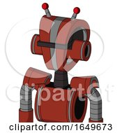 Red Automaton With Droid Head And Black Visor Cyclops And Double Led Antenna