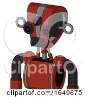 Red Automaton With Droid Head And Dark Tooth Mouth And Three Eyed