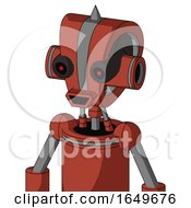 Red Automaton With Droid Head And Happy Mouth And Black Glowing Red Eyes And Spike Tip