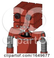 Red Automaton With Cube Head And Pipes Mouth And Red Eyed