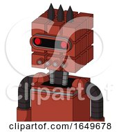 Red Automaton With Cube Head And Pipes Mouth And Visor Eye And Three Dark Spikes