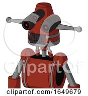 Red Automaton With Cone Head And Dark Tooth Mouth And Three Eyed