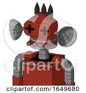 Red Automaton With Cone Head And Pipes Mouth And Plus Sign Eyes And Three Dark Spikes