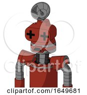 Red Automaton With Cone Head And Sad Mouth And Plus Sign Eyes And Radar Dish Hat