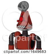 Red Automaton With Cone Head And Square Mouth And Cyclops Compound Eyes And Radar Dish Hat