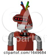 Red Automaton With Cone Head And Teeth Mouth And Visor Eye And Wire Hair
