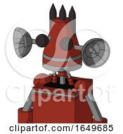 Red Automaton With Cone Head And Two Eyes And Three Dark Spikes