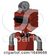 Red Automaton With Cube Head And Black Visor Eye And Radar Dish Hat