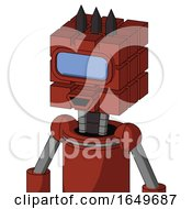 Red Automaton With Cube Head And Happy Mouth And Large Blue Visor Eye And Three Dark Spikes