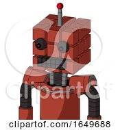 Red Automaton With Cube Head And Keyboard Mouth And Red Eyed And Single Led Antenna