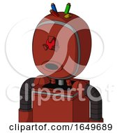 Red Automaton With Bubble Head And Round Mouth And Angry Cyclops Eye And Wire Hair