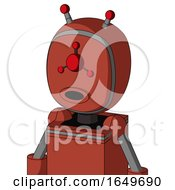 Red Automaton With Bubble Head And Round Mouth And Cyclops Compound Eyes And Double Led Antenna