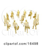 Group Of Gold Businessmen Standing In A Circle Around A Chair Symbolizing Job Opportunities And Advancement Clipart Illustration Graphic