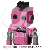 Pink Robot With Box Head And Black Glowing Red Eyes And Pipe Hair