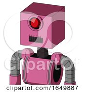 Pink Robot With Box Head And Dark Tooth Mouth And Cyclops Eye