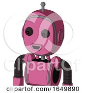 Pink Robot With Bubble Head And Happy Mouth And Red Eyed And Single Antenna