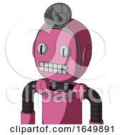 Pink Robot With Bubble Head And Keyboard Mouth And Two Eyes And Radar Dish Hat