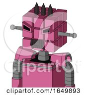 Pink Robot With Cube Head And Dark Tooth Mouth And Angry Eyes And Three Dark Spikes