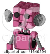 Pink Robot With Cube Head And Speakers Mouth And Two Eyes