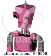 Pink Robot With Cylinder Conic Head And Toothy Mouth And Angry Eyes And Spike Tip