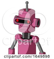 Pink Robot With Cylinder Head And Toothy Mouth And Visor Eye And Single Antenna