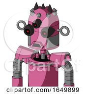 Pink Robot With Dome Head And Sad Mouth And Three Eyed And Three Dark Spikes