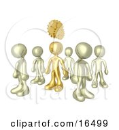One Bronze Person In A Group Of Gold People Thinking Up A Creative Idea With Gears Over His Head Clipart Illustration Graphic by 3poD