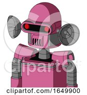 Pink Robot With Dome Head And Speakers Mouth And Visor Eye