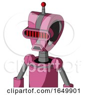 Pink Robot With Droid Head And Sad Mouth And Visor Eye And Single Led Antenna