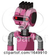 Pink Robot With Multi Toroid Head And Sad Mouth And Visor Eye And Pipe Hair