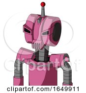 Pink Robot With Multi Toroid Head And Speakers Mouth And Angry Eyes And Single Led Antenna
