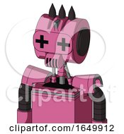 Pink Robot With Multi Toroid Head And Speakers Mouth And Plus Sign Eyes And Three Dark Spikes