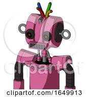 Pink Robot With Multi Toroid Head And Square Mouth And Black Glowing Red Eyes And Wire Hair