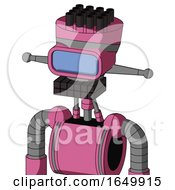 Pink Robot With Vase Head And Keyboard Mouth And Large Blue Visor Eye And Pipe Hair