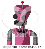Pink Robot With Vase Head And Keyboard Mouth And Two Eyes And Single Led Antenna